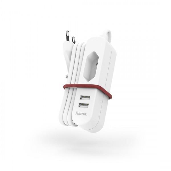 Мрежово зарядно HAMA 133751, 220V, 2 x USB, 2.4 A, Euro Socket, Бял