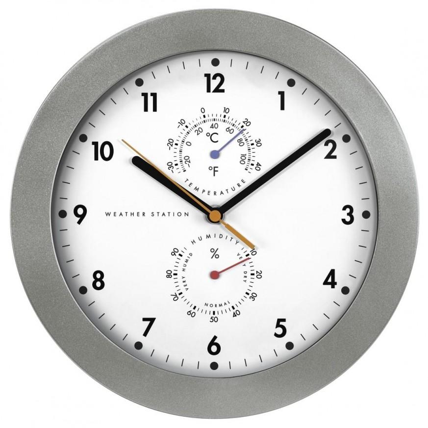 Стенен радио часовник Hama PG-300, DCF, Термометър, Хигрометър, 30 см., Сребрист