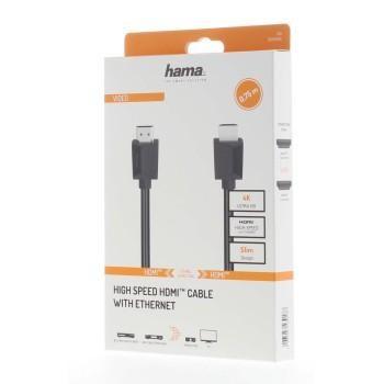 Кабел HAMA HDMI мъжко - HDMI мъжко, 4K,18Gbit/s, Ethernet 0.75  м,екраниран
