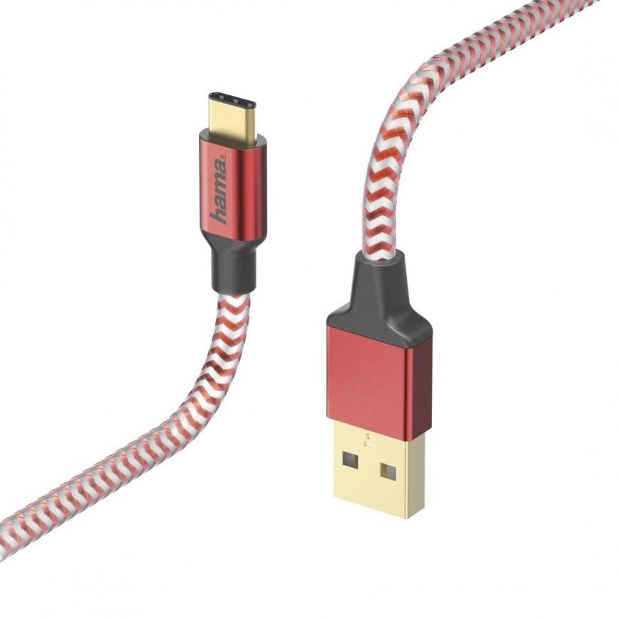Кабел HAMA Reflective, USB-C мъжко - USB-A мъжко, 480 Mbps, 1.5 м., Червен