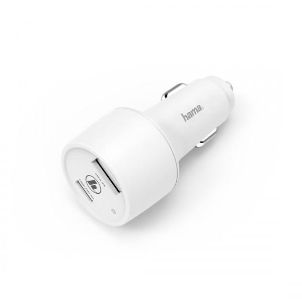 Зарядно за кола HAMA, USB Type-C + USB-A, Power Delivery (PD), 42W, Бял