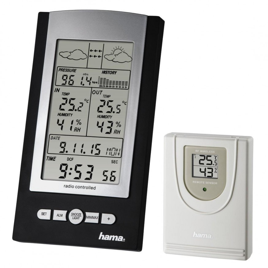 Електронна метеостанция HAMA EWS-800 76045, Черен/Сив