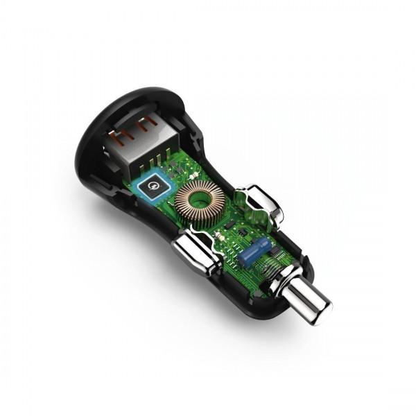 Зарядно за кола HAMA 183231, USB Type-C, 3 A,Qualcomm Quick Charge 3.0 + USB Type-C кабел, 1.5м, Черен