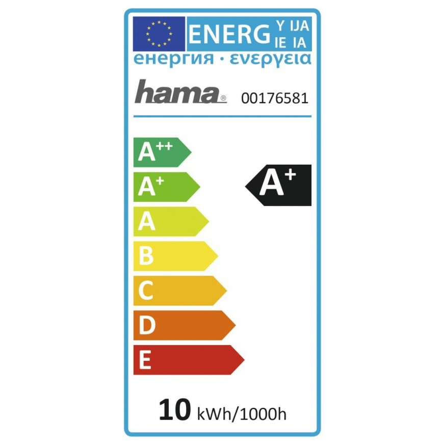 Димираща крушка HAMA WLAN LED, RGBW, 10W, E27, 806 lm, Гласов контрол