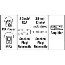 Аудио кабел HAMA 30456,  Стерео жак 3,5 mm -2 x Чинч мъжко, 5м