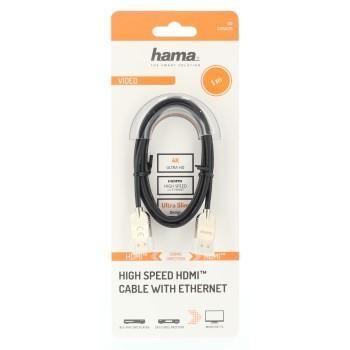 Кабел HAMA Ultra-Slim, HDMI мъжко-мъжко, Ultra-HD, 4K, 2.0 м, Екраниран