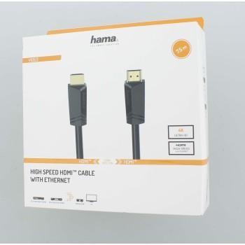 Кабел HAMA HDMI мъжко - HDMI мъжко,4K,18GB/s, Ethernet, 7.5 м, позл. конектори