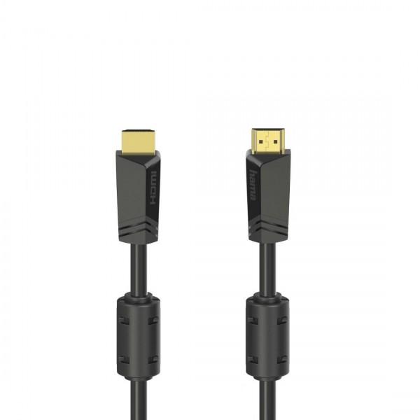 Кабел HAMA High Speed, HDMI мъжко - HDMI мъжко, 4K, 18GB/s, Ethernet , 15 м, позл. конектори, 2 филтъра