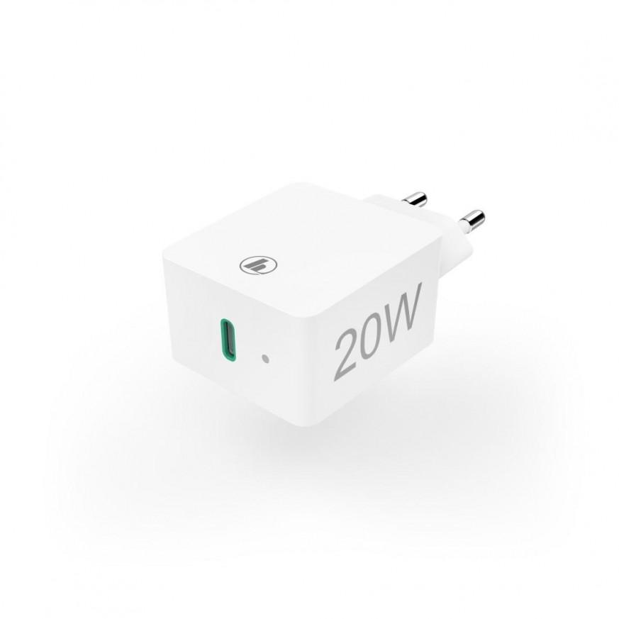 Мрежово зарядно HAMA Power Delivery (PD) / Qualcomm, USB-C, 20W, Бял