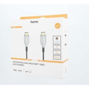Оптичен активен кабел HAMA Optical, HDMI мъжко - HDMI мъжко, Ethernet, 18 Gbit/s, 20м, Позл.конектори, Черен