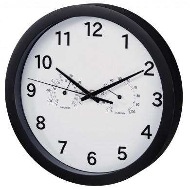 Стенен часовник Hama Pure Plus, Ø 25 cm, измерва температура и влажност, Черен