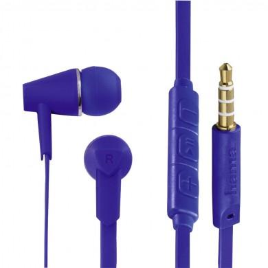 Слушалки HAMA Joy, Микрофон, In-Ear,плосък кабел, син,контрол на звука