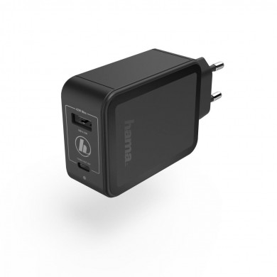 Зарядно 220V HAMA GaN, USB-C Power Delivery (PD) + USB-A, 42W, Черен