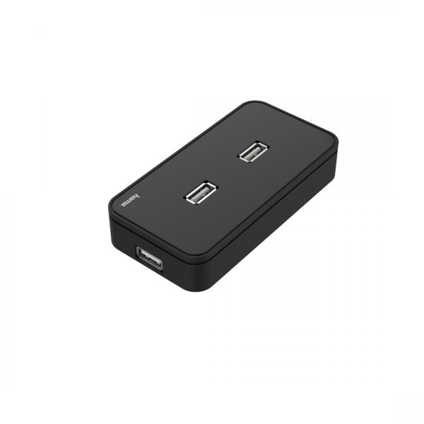 USB хъб със захранване HAMA, USB 2.0, 1:7, Черен