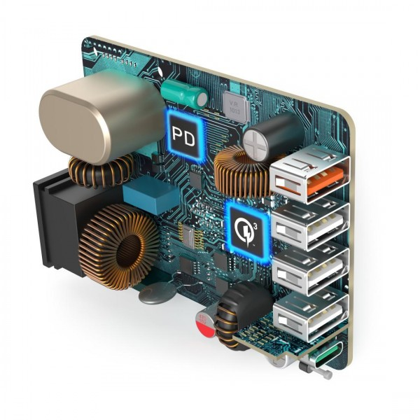 Мрежово зарядно HAMA 51 Watt, 5xUSB (1x QC3.0, 3x USB-A, 1x USB-C PD), Черно