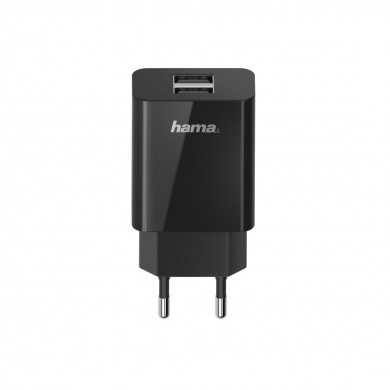 Мрежово зарядно HAMA Universal, 2 x USB-A, 2.1 A, Черен