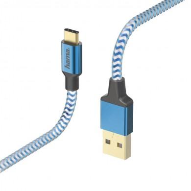 Кабел HAMA Reflective, USB-C мъжко - USB-A мъжко, 480 Mbps, 1.5 м., Син