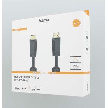 Кабел HAMA High Speed, HDMI мъжко - HDMI мъжко, 4K, 18GB/s, Ethernet , 10 м, позл. конектори, 2 филтъра
