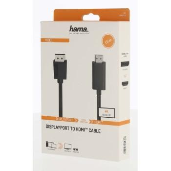 Кабел HAMA DisplayPort v.1.2 мъжко - HDMI мъжко,Ultra-HD, 4K, 1.5м