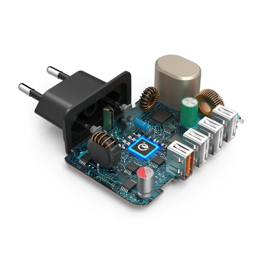 Мрежово зарядно HAMA 33 Watt, 4xUSB (1x QC3.0, 3x USB-A), Черно