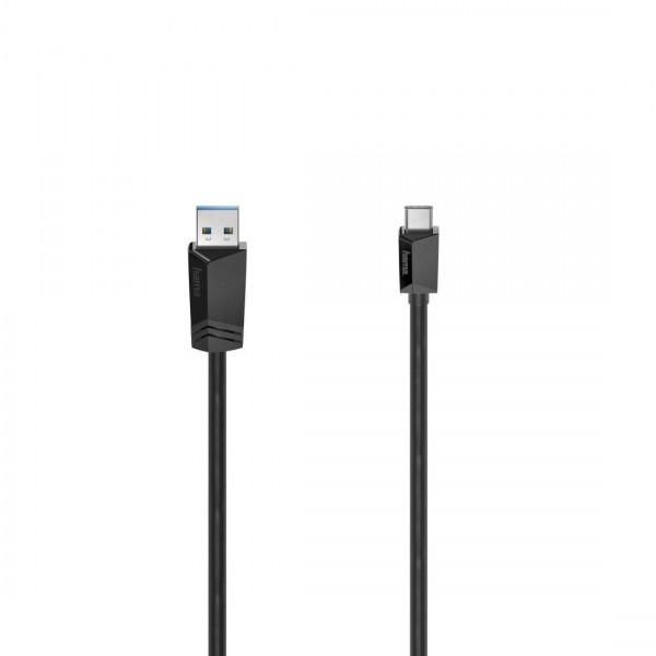 Кабел HAMA 200651 USB-C мъжко-USB-A мъжко, USB 3.2 Gen 1, 5Gbit/s, 0.75 м., Черен