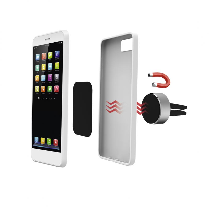 Магнитна стойка за кола за  телефон HAMA Magnetic Aluminium, Черен