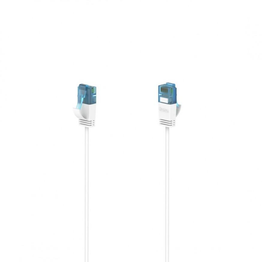 Мрежов кабел HAMA Flexi-Slim, U/UTP CAT 6a, 10 Gbit/s, RJ-45 - RJ45, 3.0 m, Бял