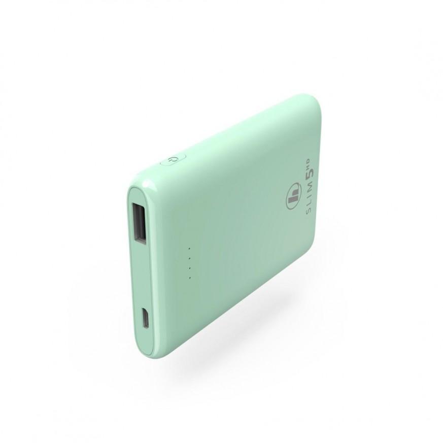 Външна батерия HAMA SLIM 5HD, 5000 mAh, LiPolym, USB-A, Зелен