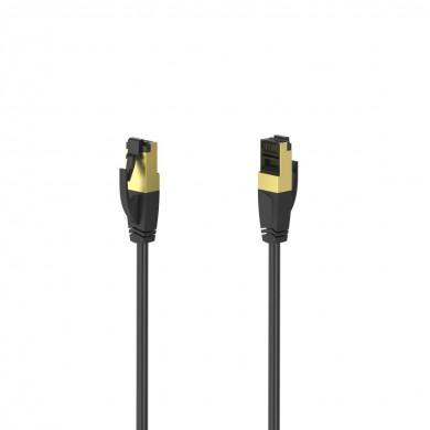 Мрежов пач кабел HAMA S/FTP, CAT 8, RJ-45 - RJ-45, 40Gbit/s, 5.0 m, Halogen-free, Черен