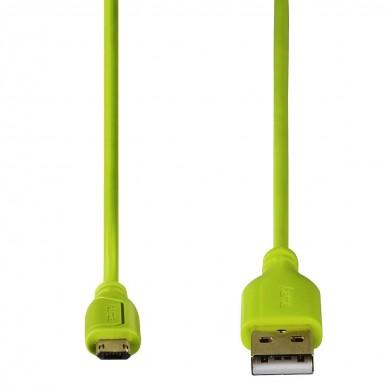 Кабел HAMA Flexi-Slim USB 2.0 - micro USB, 0.75 м., Позлатени конектори, Зелен