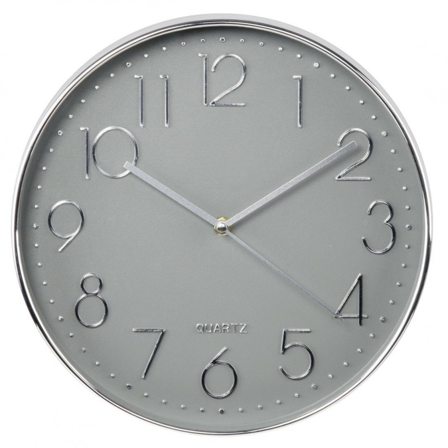 Стенен часовник Hama Elegance, Ø 30 cm, Тих Сребрист/Сив