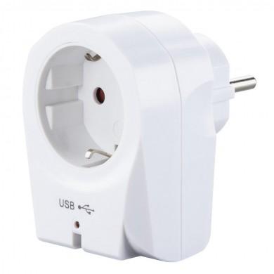 Контакт със зарядно 220V HAMA, 2xUSB, 2.1 A, Бяло