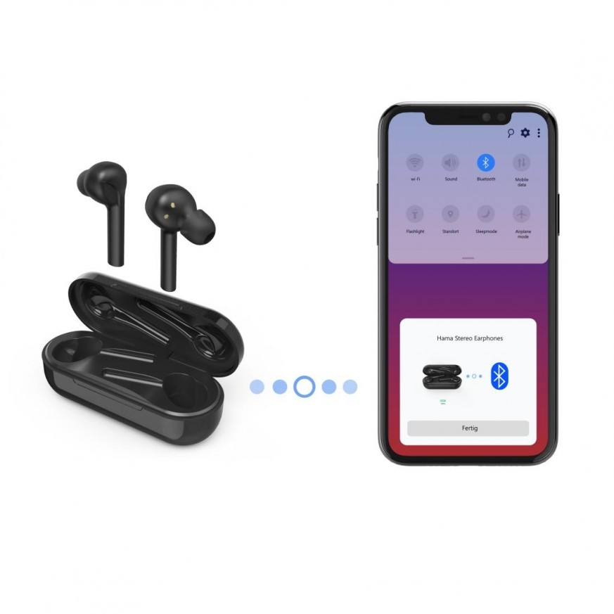 Блутут слушалки-тапи с докинг кутийка Hama Style, True Wireless, Гласов контрол, Черни