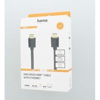 Кабел HAMA High Speed, HDMI мъжко - HDMI мъжко, 4K, 18GB/s, Ethernet , 5 м, позл. конектори