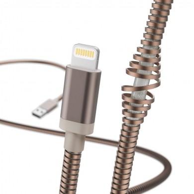 Кабел за зареждане и данни HAMA Metal, USB - Lightning, 1.5 м., златист