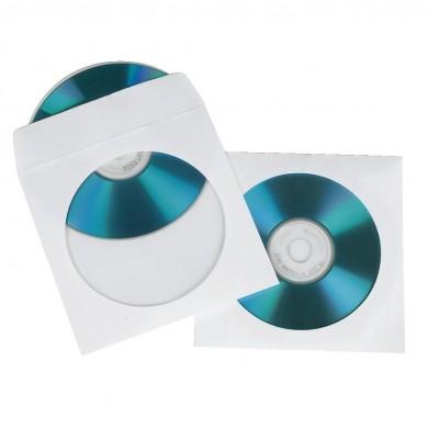 Хартиени пликчета 1 бр. CD-та, 50 бр в пакет HAMA, бял