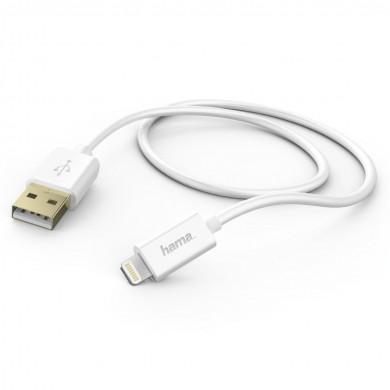 Кабел HAMA 102099 за зареждане на Apple iPhone 5/5s/5c/6/6 Plus/6s/6s Plus, MFI, 1.5м, Бял