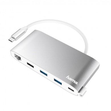 8-портов хъб HAMA USB-C, 3 x USB-A, 2 x USB-C, VGA, HDMI, LAN