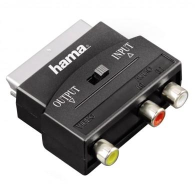 Преходник  HAMA 122239/42353, 3 х Чинча(1хVideo+2xAudio)/Скарт