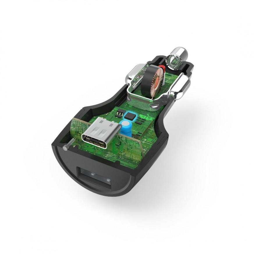 Зарядно за кола HAMA, USB Type-C + USB-A, Power Delivery (PD), 42W, Черен