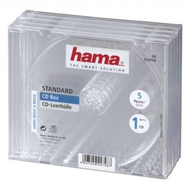 Кутийка за CD/DVD HAMA Jewel Case, прозрачен, 5 бр. в пакет