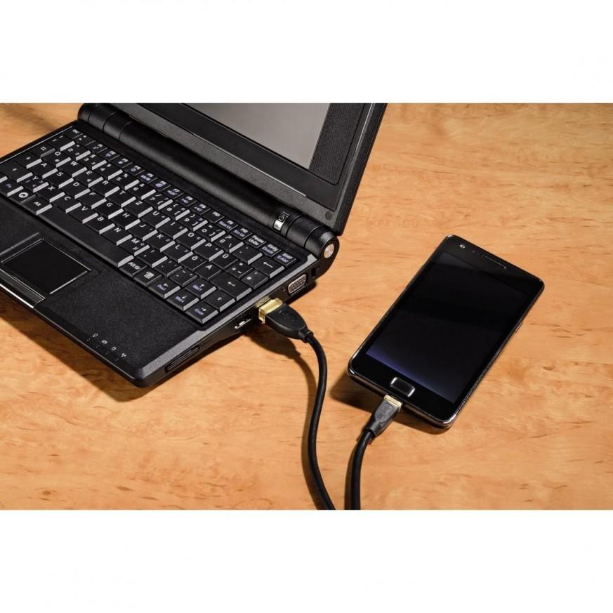 Кабел HAMA 200608 USB 2.0 - micro USB, 1.5 м., Черен, позлатен, екраниран