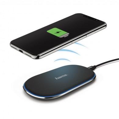 Безжично зарядно устройство HAMA FC-10 FABRIC, 10W, Черен, QI
