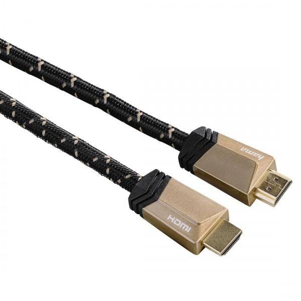 Кабел HAMA Ultra HD HDMI мъжко - HDMI мъжко, 8K, 48GB/s,метал, 1 м, позл. конектори, 5 звезди