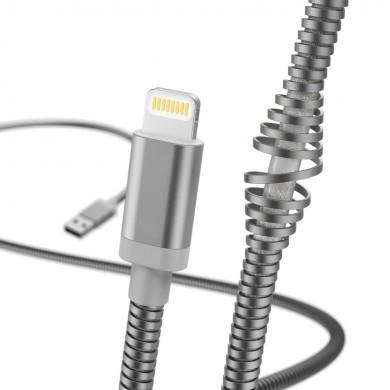 Кабел за зареждане и данни HAMA Metal, USB - Lightning, 1.5 м., сребрист