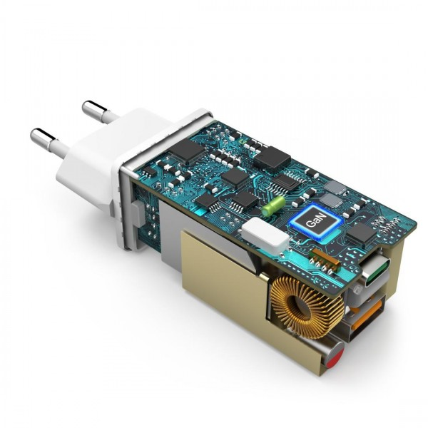 Зарядно 220V HAMA GaN, USB-C Power Delivery (PD) + USB-A QC 3.0, 65W, Бял
