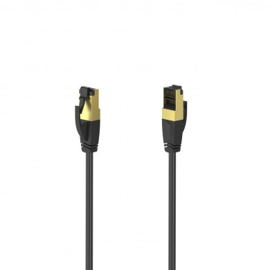 Мрежов пач кабел HAMA S/FTP, CAT 8, RJ-45 - RJ-45, 40Gbit/s, 1.50 m, Halogen-free, Черен